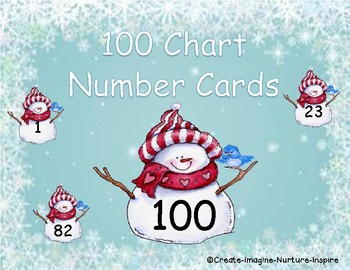 Winter Themed 100 Chart Cards