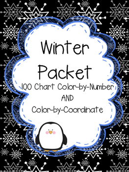 Winter Themed 100 Chart Color-by-Number and Color-by-Coordinate