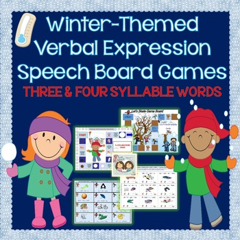 Winter-Themed 3 & 4-Syllable Word Reading or Verbal Expression Game Boards