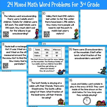 Winter Themed 3rd Grade Math Mixed Practice Task Cards With QR Codes