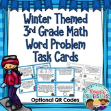 Winter 3rd Grade Math Word Problem Task Cards With Optional QR Codes