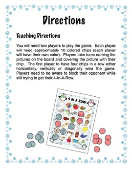 Winter Themed 4-In-A-Row Game Boards for the /l/ Phoneme