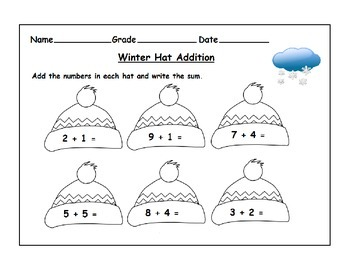 Winter Themed Addition Worksheets