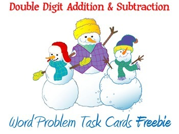 Winter Themed Addition and Subtraction Word Problems Task Cards Freebie