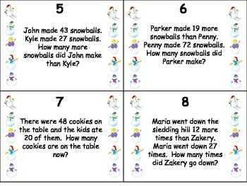 Winter Themed Addition and Subtraction Word Problems Task Cards Grades 2 and 3
