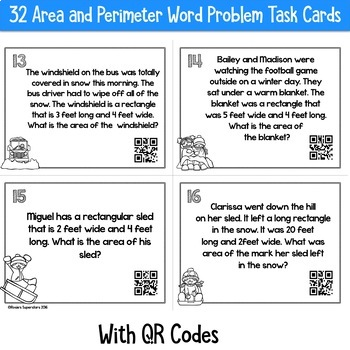 Winter Themed Area and Perimeter Task Cards With QR Codes