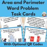 Winter Themed Area and Perimeter Task Cards With Optional QR Codes