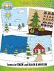 Winter Background Scenes Clipart {Zip-A-Dee-Doo-Dah Designs}