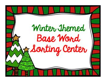 Winter Themed Base Word Sorting Center
