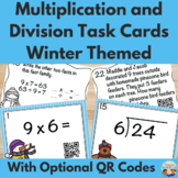 Winter Themed Basic Multiplication and Division Task Cards with QR Codes