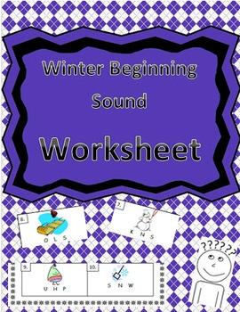 Winter-Themed Beginning Sound Identification Worksheet