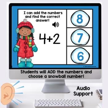 Winter Themed Math Boom Cards for Kindergarten