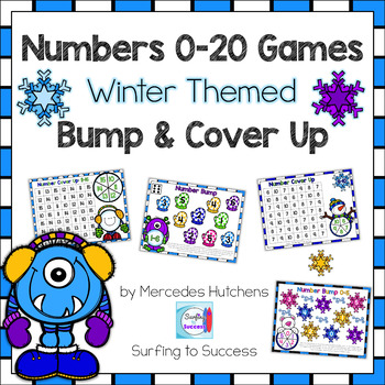 Winter Themed Bump and Cover Up Number Games: Numbers 0-20