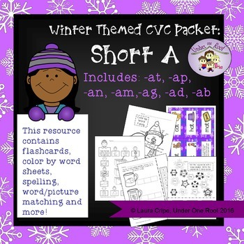 CVC Short A Winter Themed Packet - No Prep