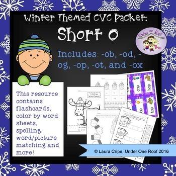 CVC Short O Winter Themed Packet - No Prep