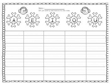 Winter Themed Phonics CVC Vowel Word Sort Center/ Activity