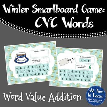 Winter Themed CVC Word Value Game for Smartboard or Promethean Board!