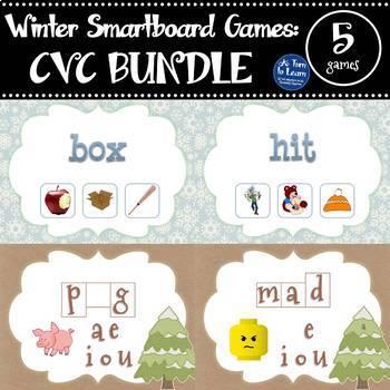 Winter Themed CVC Words BUNDLE of 5 Smartboard or Promethean Board Games!