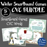 Winter Themed CVC Words BUNDLE of Smartboard/Promethean Games (5 games!)