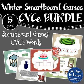 Winter Themed CVCe/Super E Words BUNDLE of 5 Smartboard/Promethean Board Games!