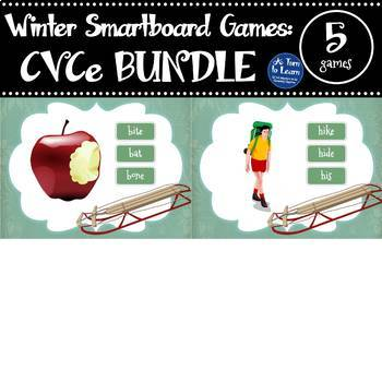 Winter Themed CVCe/Super E Words BUNDLE (5 Smartboard/Promethean Board Games)