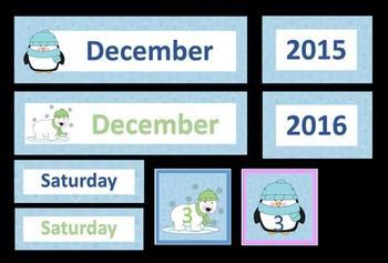 Winter Themed Calendar Printable