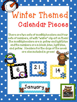 Winter Themed Calendar Set With Days of the Week