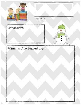 Winter Themed Classroom Newsletter