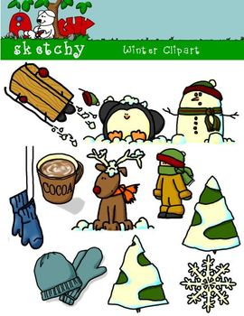 Winter Themed Clipart / Graphics 300 dpi Color Grayscale B