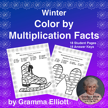 Color by Number - Winter Theme Multiplication - 18 No Prep Pages and answer keys