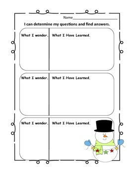 Winter Themed Common Core Graphic Organizers