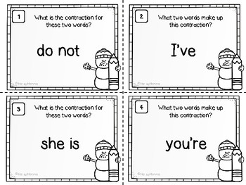 Winter Themed Contractions Task Cards