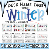 Winter Themed Desk Name Tags Decorations and Coloring Activity