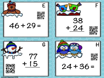 Winter Themed Double Digit Addition With Regrouping Task Cards with QR Codes