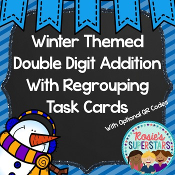 Winter Themed Double Digit Addition With Regrouping Task C