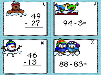 Winter Themed Double Digit Subtraction No Regrouping Task Cards with QR Codes