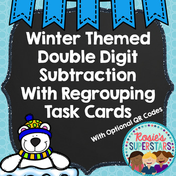 Winter Themed Double Digit Subtraction No Regrouping Task