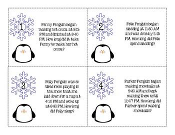 Winter-Themed Elapsed Time Task Cards