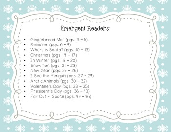 Winter Themed Emergent Readers