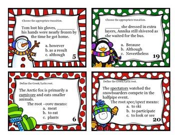 Winter Themed English Language Arts Task Cards