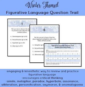 Winter Themed Figurative Language Question Trail w/ digital, auto-graded option