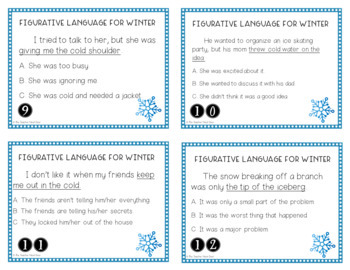 Winter Themed: Figurative Language Task Cards for 3rd - 5th Grade