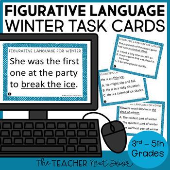 Figurative Language Winter Task Cards | Figurative Language
