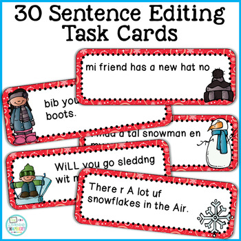 Winter Editing Sentences: First Grade, Capitalization, Punctuation, Spelling