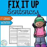 Winter Editing Sentences: First Grade, Capitalization, Pun