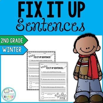 Winter Editing Sentences: Second Grade, Capitalization, Punctuation, Spelling
