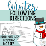 Winter Following Directions Coloring Pack- Mixed directions- Speech Therapy