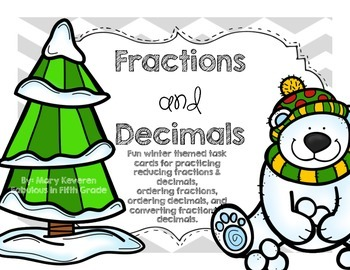 Winter Themed Fractions & Decimals Task Cards (QR Codes Included!)