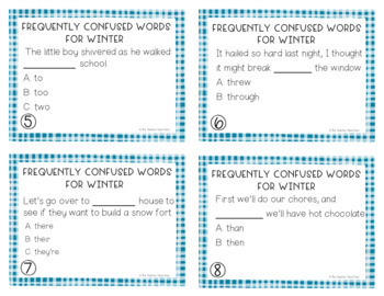 Frequently Confused Words Winter Task Cards | Frequently Confused Words