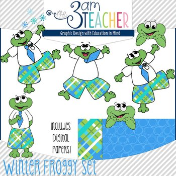 Winter Themed Froggy Clipart Set